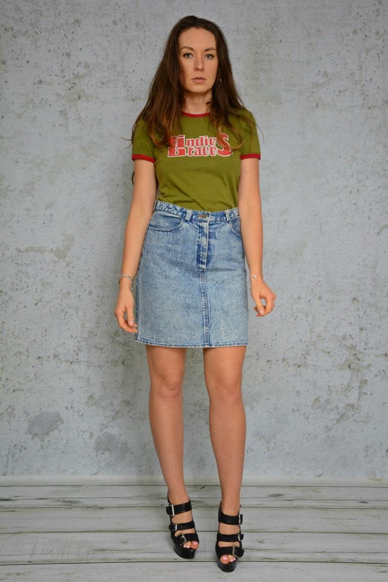 c55ec1d5f5 Acid Wash Skirt High waisted jeans retro denim vintage patched | Etsy