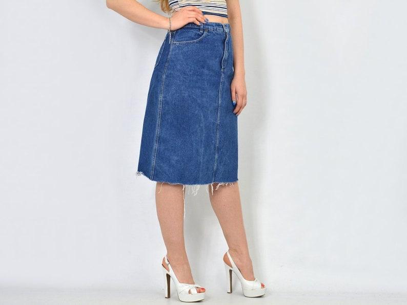 0e35f83aaa39 HIS Mini skirt cut off denim blue jean Vintage frayed | Etsy