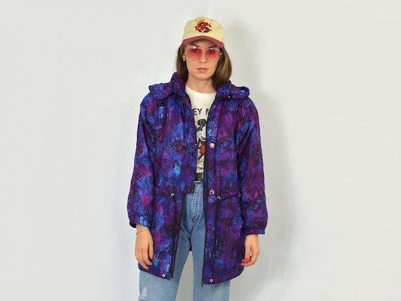 Printed Puffy jacket Violet newspaper print Vintag