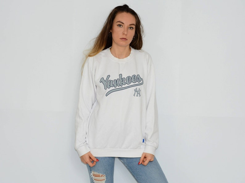 best website 08c75 2248b NY Yankees sweatshirt vintage NBL white baseball sport New York 90's Large