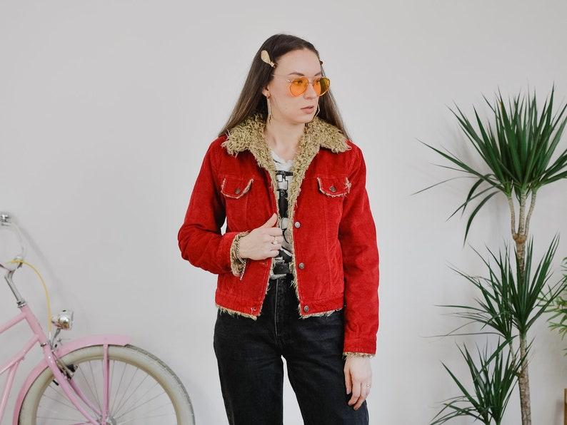 RED Corduroy jacket Vintage 90's faux shearling collar fur image 0