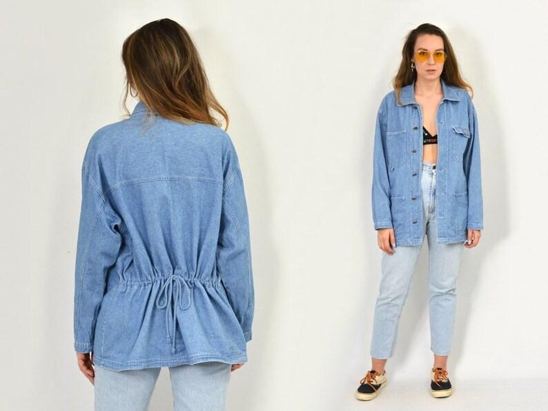 c23dc7cd85 Vintage denim jacket coat parka classic blue tied waist retro