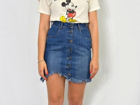 dd64a3bfd3ea Frayed skirt Mini cut off denim blue jean button up Vintage | Etsy