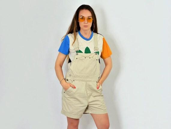 BEIGE korte Overalls Jeans broek shortalls jeans vintage hipster 90 's zomer tuinbroek denim Romper algemene Jumpsuit vrouwen M Medium