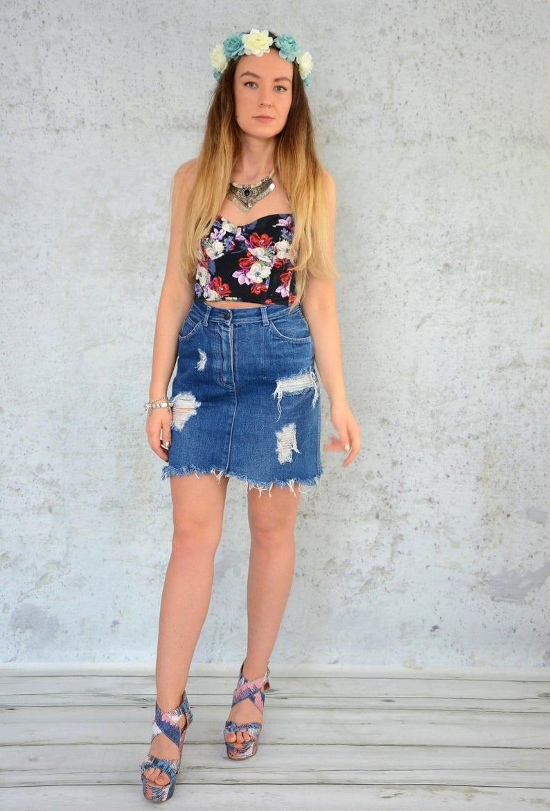4d5c4b1571aa Distressed denim skirt Mini vintage destroyed Frayed Cut off | Etsy