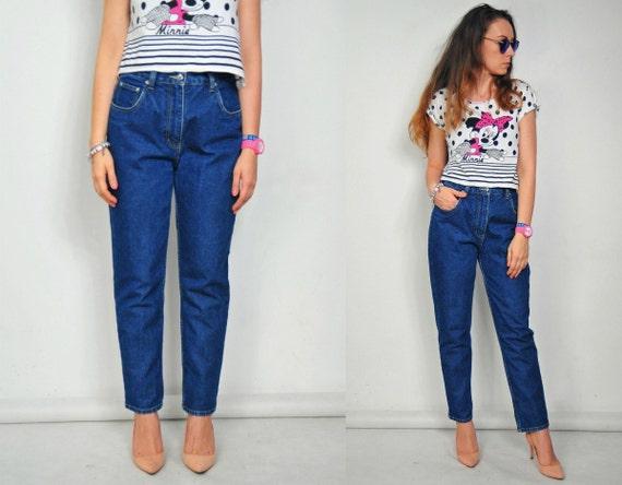 c32cbba9f5 Alta cintura mamá los pantalones vaqueros azul marino pantalón