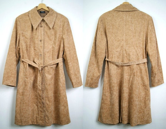 coat style L jacket coat Size style vintage Belted York Spring coat caramel trench New XL 80's In overcoat long gqw44S