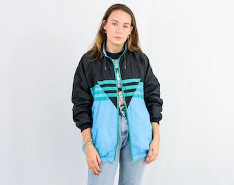 Vintage track jacket 90s shell windbreaker bright blue black green XL/XXL