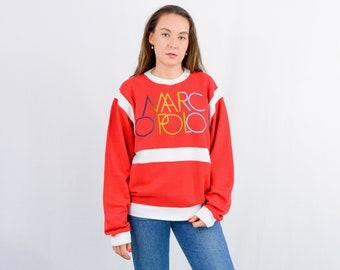 Marc OPolo red sweatshirt vintage rainbow logo jumper 90s long sleeve XL