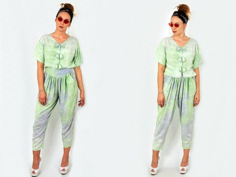 ccd66ec57d3b Two piece jumpsuit shirt and pants set Vintage ombre green