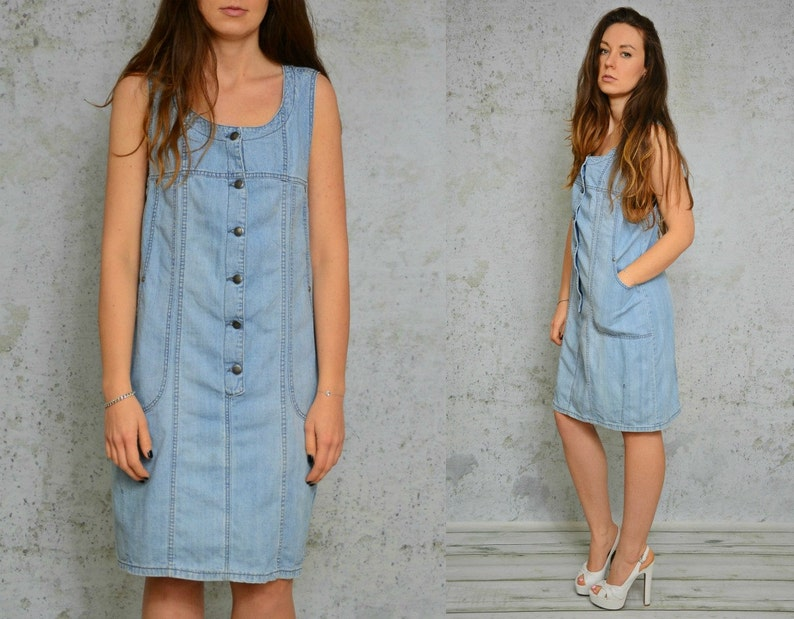 d5a4824673 Denim dress Jean mini light blue grunge vintage Button Up down