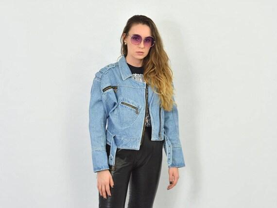 hipster Vintage grunge Rocker coat L jeans rocker up jacket biker Ramones blue 90's jean M denim CROSS button motorcycle 8H1xvv