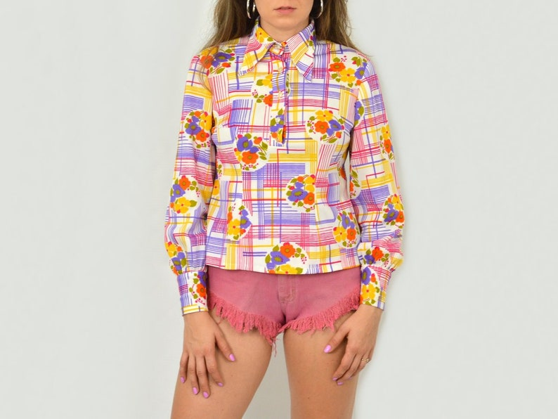 70s shirt collared Retro blouse abstract rainbow colours printed vintage multi color long sleeve M Medium