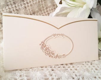 Classic invitations in white with gold trim, model 15061