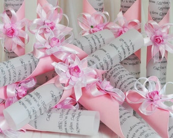 Wedding invitations - Papyrus with pink rose SCR025