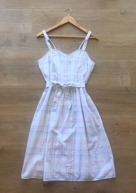 Vintage 1970s white and pastel plaid pattern dress