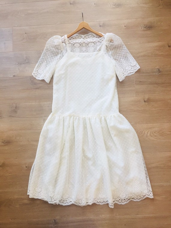 Vintage 1980s ivory lace drop waist dress bridal o