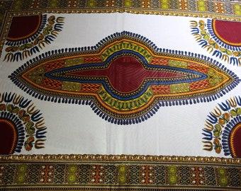 White Dashiki fabric - Ankara African Print - African Fabric - Wax Print Fabric  - African Print - Fabric per yard