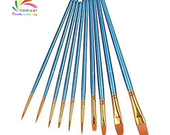 COMIART 10 Piece Art Paint Brush for Watercolor, Oil, Acrylic Paint Craft Nail Face Painting Oil-paintings Brushes