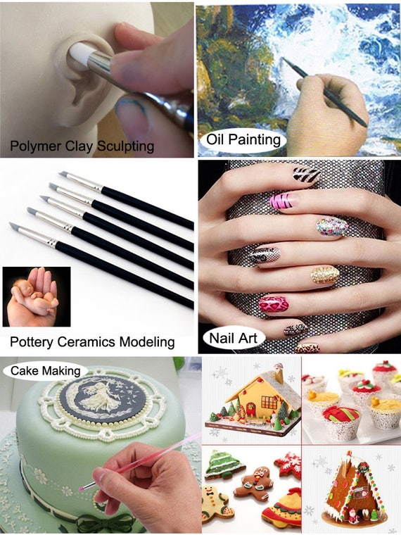 5Pcs Polymer Clay Carving Craft Brush Pottery Tools Clay Sculpture Nail NEW