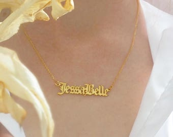 714bf4ec46b38 Gold name plate necklace   Etsy