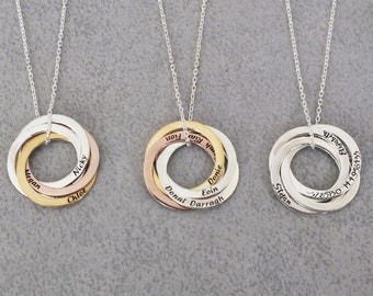 034821045 Circle Name Necklace Personalize Mother Day Gift Kid Name Necklace for Mom  Russia Ring Name Necklace Family Necklace for Mother, Gift Women