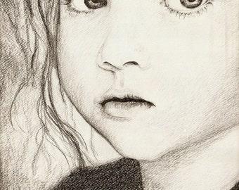 custom portrait, pencil drawing, black and white portrait