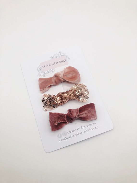 Rose gold & pink hair clips, sequin and velvet hair clips, alligator clips
