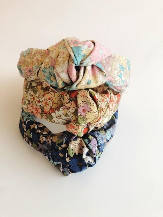 Ladies knot headband, vintage floral headband, ladies headband
