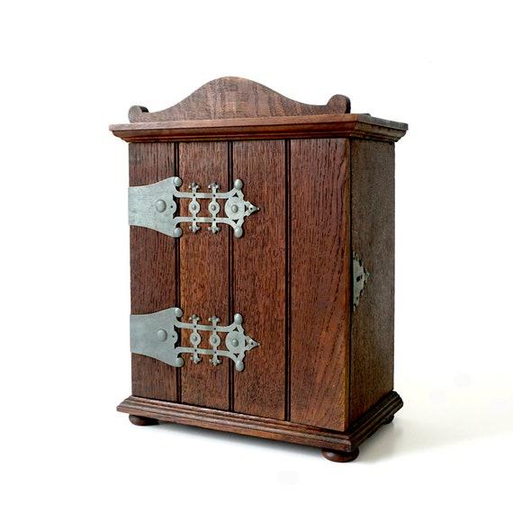 German Antique Oak Cabinet With Metal Decoration Antique   Etsy