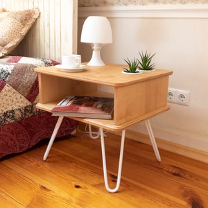WIL183 Eclectic style mySAM Yellow Yellow table Bedside table Plywood coffee table Side table Furniture Wheels Nightstand