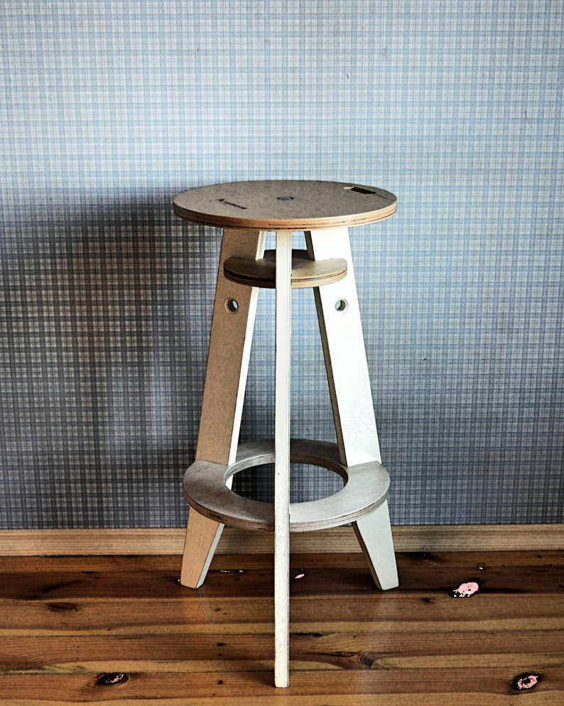 Wooden Bar Stool, Counter Stool In Industrial Style, Farmhouse Pub Stool,  Kitchen Bar Stool In Scandinavian Style
