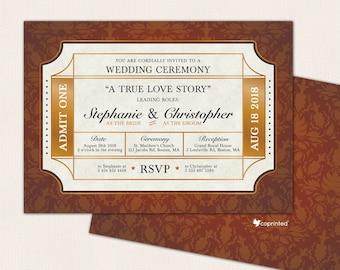 Cinema Ticket Wedding Invitation, Movies Ticket Invitation, Ticket Wedding  Program, Movie Ticket Wedding, Golden Ticket Wedding Invitation