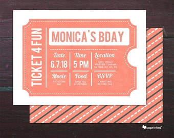 classic movie ticket birthday party invitation birthday etsy