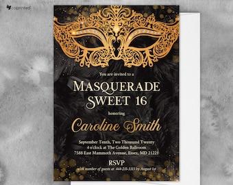 Sweet 16 Masquerade Ball, Carnival Invitation, Masquerade Party Invitation Quinceanera Invites Birthday Invitations Mardi Gras Party Printed