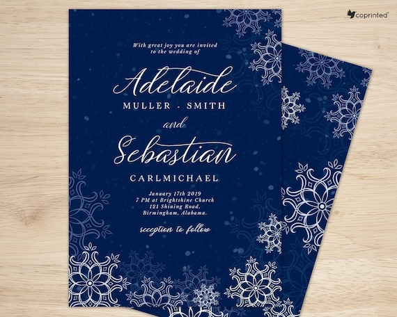 Winter Wedding Invitations Winter Themed Wedding Invitations Etsy
