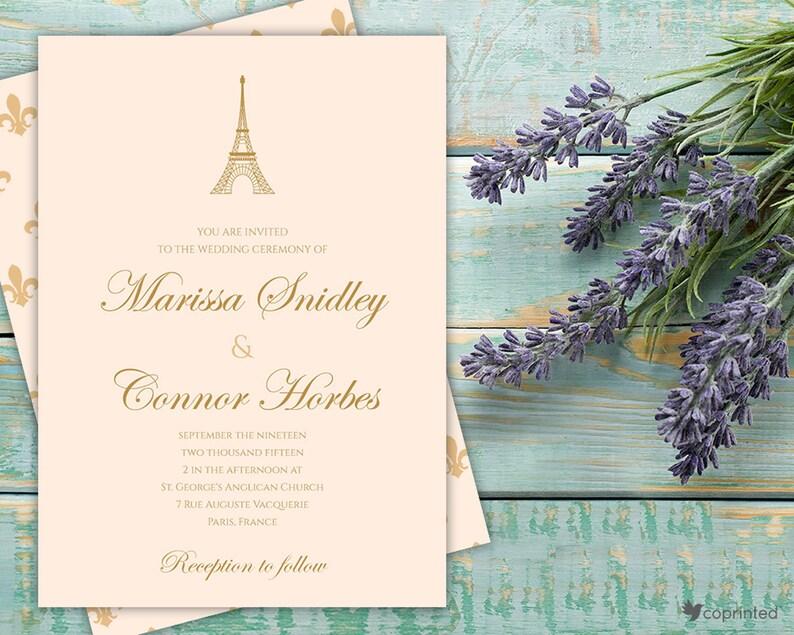 Paris Wedding Invitation Eiffel Tower Invitation Set Paris Etsy
