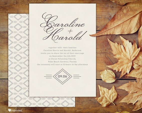 clean simple invitations traditional invitations classic etsy