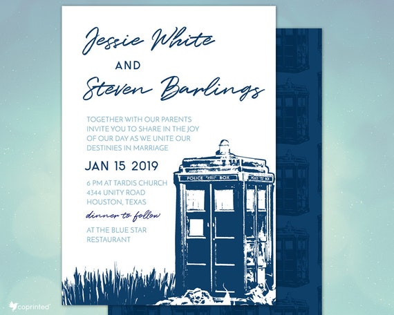 Blue Police Box Wedding Invitations Dr Who Inspired Dr Who Etsy