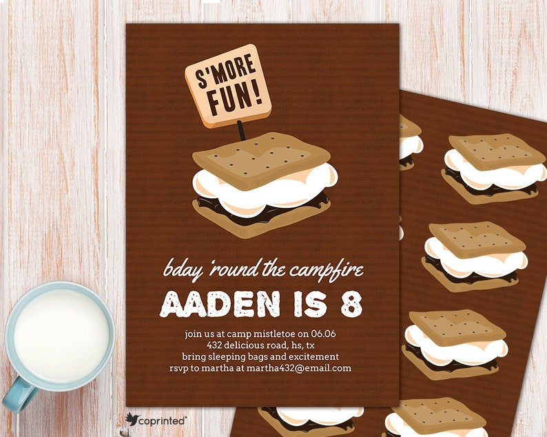 S Mores Birthday Party Invitation Smore Love Camping Etsy