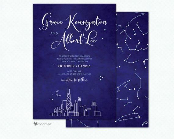 chicago city skyline printed wedding invitations chicago etsy