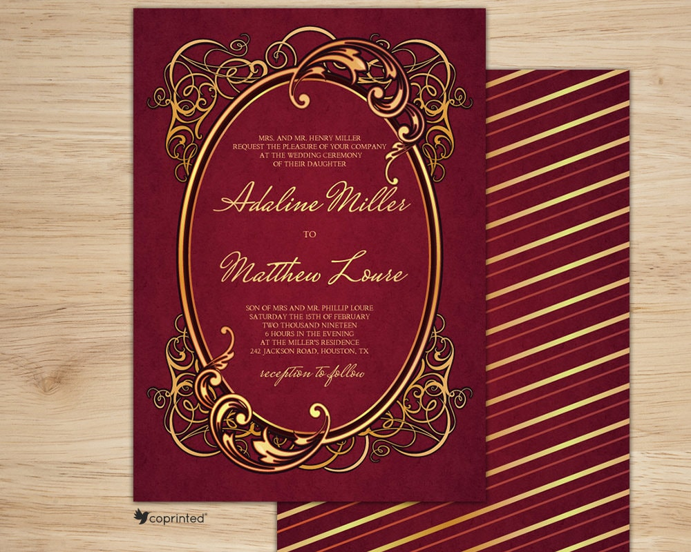 Elegant Red and Gold Wedding invitation Black Tie Invitation | Etsy