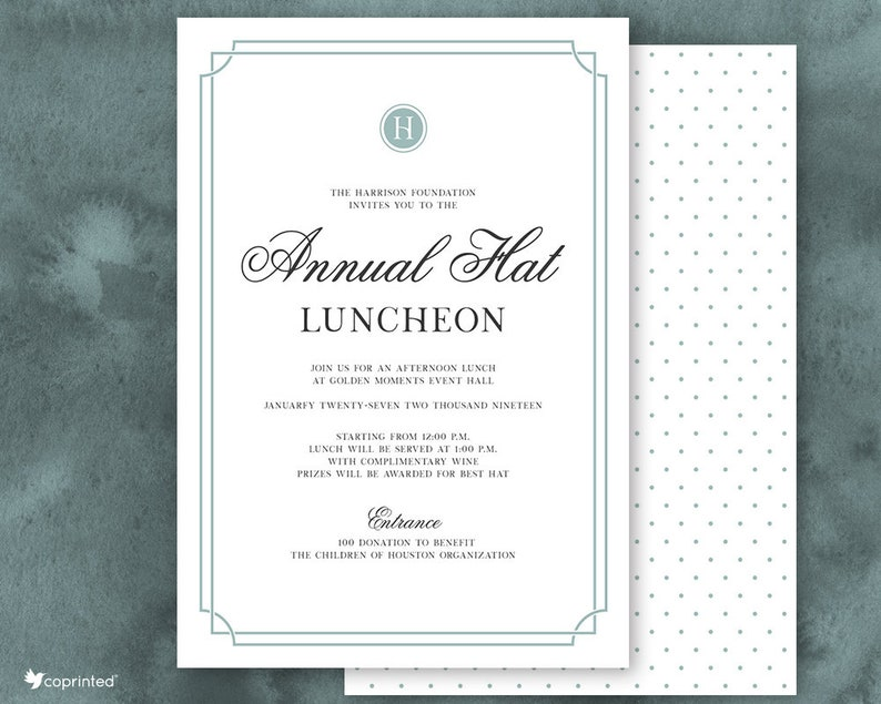 Formal Hat Luncheon Invitations Corporate Company Event Etsy