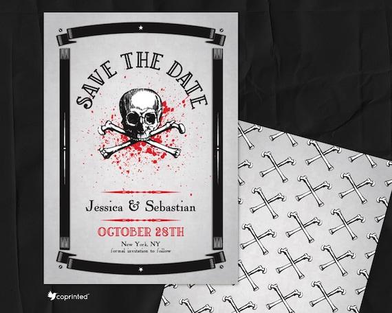 Skull Theme Save The Date Death Wedding Invitation Zombie Etsy