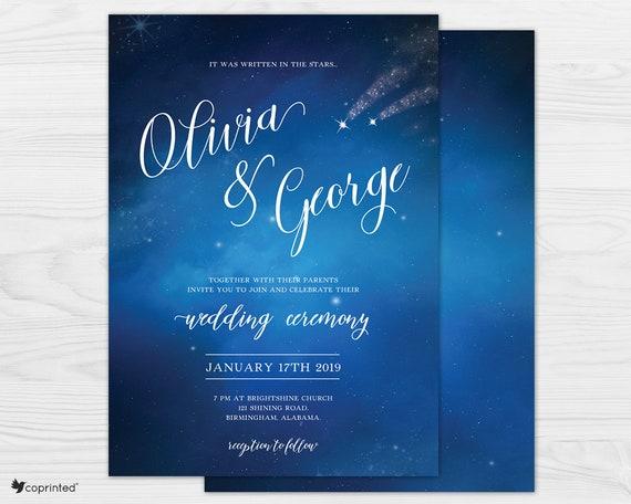 starry night wedding star themed wedding invitation etsy