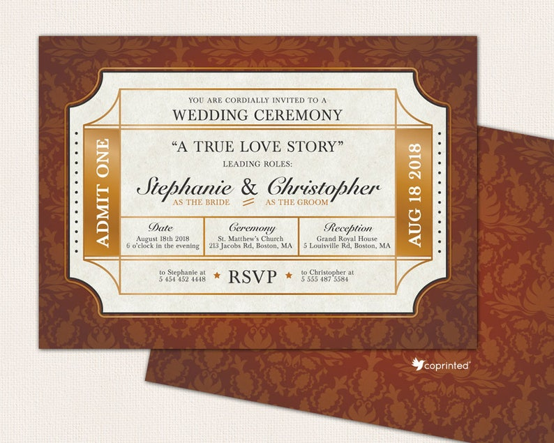 Cinema Ticket Wedding Invitation Movies Program Movie Golden