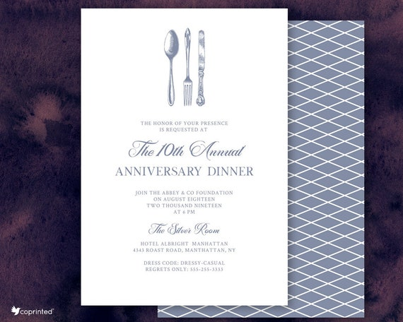 Anniversary Dinner Invitation Business Dinner Invite Corporate Dinner Company Event Fork Knife And Spoon Invitation Recognition Dinner