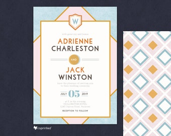 Wes Anderson Theme Wedding Invitation, Wes Anderson Movie Theme, Movie Themed Invitation, Grand Budapest Hotel, Vintage Invitation, Monogram