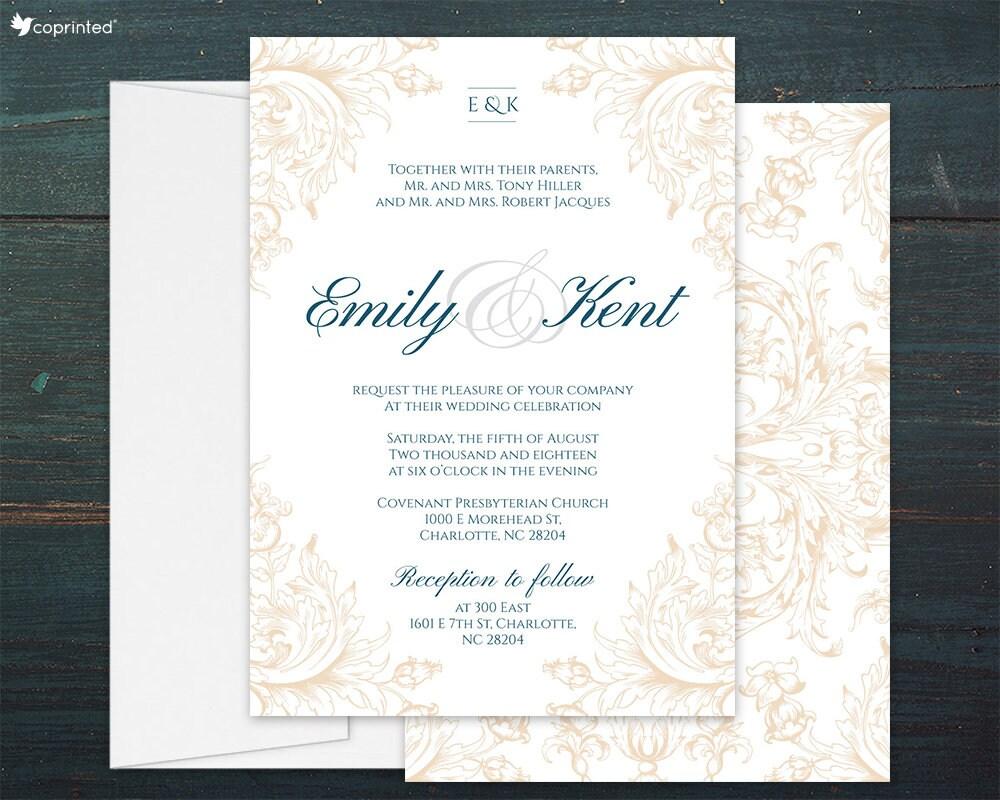 Ivory Wedding Invitations: Ivory Wedding Invitation Set Cream Wedding Invites Elegant