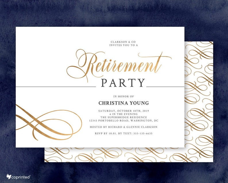 Elegant Retirement Party Invitation Printed Black And Gold Etsy